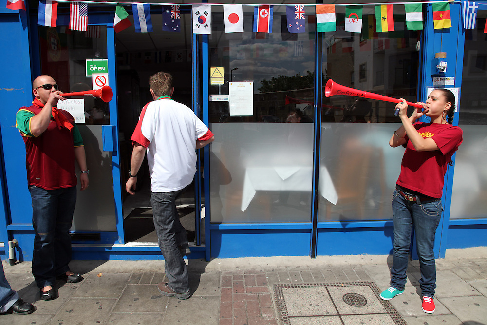 World Cup 2010 watched  on London TV<br /> Portugal v Ivory Coast, Manos Grill, Kensal Green