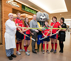 Official opening of Sheffield's new Harvester Salad & Grill at Meadowhall..Left to right Chef Neil Leech, England A team and Sheffield Hockey Clubs Martin Ebbage, Sheffield Hockey Club Callum Groege, Jemima Board, Harvester Manager Dan Fox, Harvey The Rabbit, Sheffield Hockey Club players Ali Crewesmith, and Harvester staff Laura Goodall  .10 November 2011. Image © Paul David Drabble