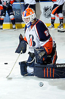 KELOWNA, CANADA, OCTOBER 29: Cam Lanigan #30 of the Kamloops Blazers warms up Kamloops Blazers visit the Kelowna Rockets  on October 29, 2011 at Prospera Place in Kelowna, British Columbia, Canada (Photo by Marissa Baecker/Shoot the Breeze) *** Local Caption *** Cam Lanigan;