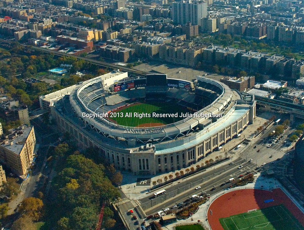 Aerial view of the new Yankee Stadiums as seen on Oct. 22, 2009 .Grounds crew preparing field for ALCS Game on 10/26/09.  (AP Photo/Julia Robertson)