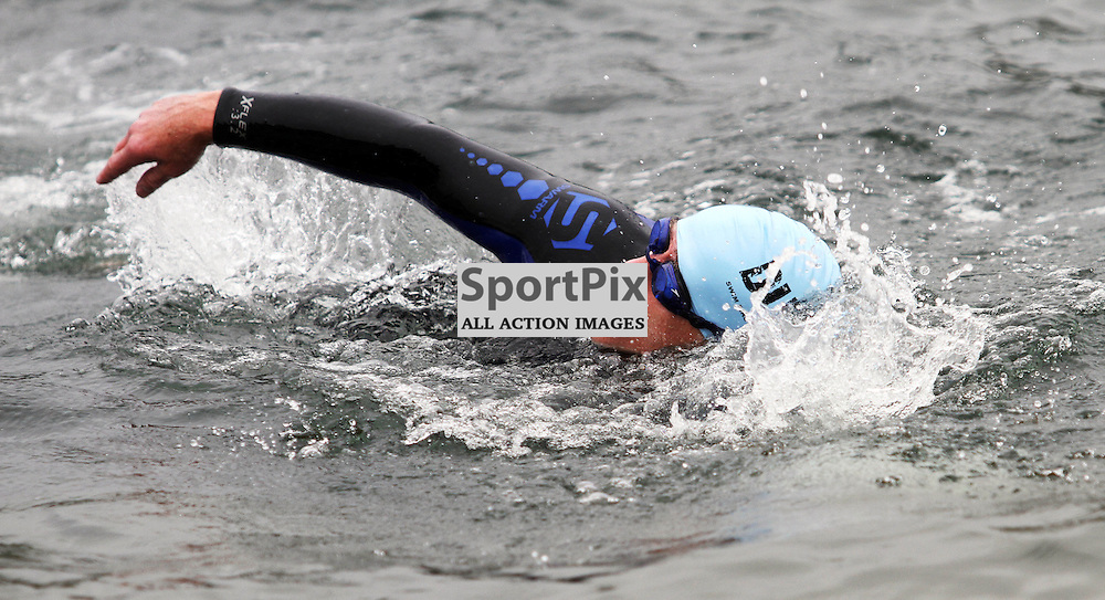This competitor powers through the swell as 200 swimmers entered  the water to swim 550m to the Island of Kerrera as first part of the Craggy Island triathlon in its 2nd year with over 400 entrants the competition having to be spread over 2 days ..Kevin McGllynn(c)  | StockPix.eu