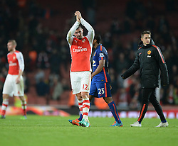 Arsenal's Olivier Giroud claps the home fans at full time. - Photo mandatory by-line: Alex James/JMP - Mobile: 07966 386802 - 22/11/2014 - Sport - Football - London - Emirates Stadium - Arsenal v Manchester United - Barclays Premier League