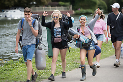 © Licensed to London News Pictures. 24/08/2017. Reading, UK. Music fans make their way to Reading Festival . The weather is expected to stay fine for the start of the three day music festival. Photo credit: Peter Macdiarmid/LNP