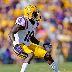 Oct 12, 2013; Baton Rouge, LA, USA; LSU Tigers defensive back Tre'Davious White (16) against the Florida Gators during the first quarter of a game at Tiger Stadium. Mandatory Credit: Derick E. Hingle-USA TODAY Sports