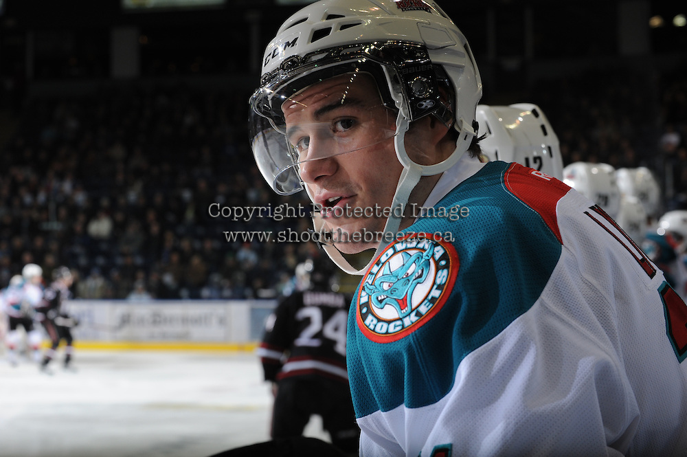 KELOWNA, CANADA - FEBRUARY 18:  Brett Lyon #21 of the Kelowna Rockets stands on the bench against the Red Deer Rebels at the Kelowna Rockets on February 18, 2012 at Prospera Place in Kelowna, British Columbia, Canada (Photo by Marissa Baecker/Shoot the Breeze) *** Local Caption ***
