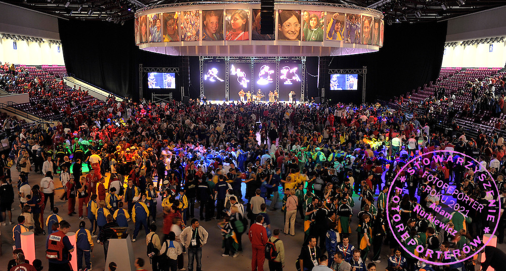 CLOSING CEREMONY AT TORWAR HALL IN WARSAW..SPECIAL OLYMPICS EUROPEAN SUMMER GAMES - WARSAW 2010..THE IDEA OF SEPCIAL OLYMPICS IS THAT, WITH APPROPRIATE MOTIVATION AND GUIDANCE, EACH PERSON WITH INTELLECTUAL DISABILITIES CAN TRAIN, ENJOY AND BENEFIT FROM PARTICIPATION IN INDIVIDUAL AND TEAM COMPETITIONS...WARSAW , POLAND , SEPTEMBER 23, 2010..MANDATORY CREDIT:.PHOTO BY ADAM NURKIEWICZ / MEDIASPORT