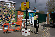 Street corner landscape and regeneration project hoarding image at Elephant & Castle, London borough of Southwark.