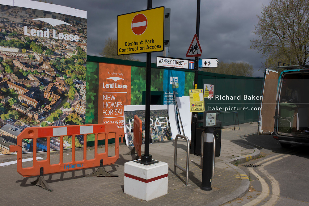 Street corner landscape and regeneration project hoarding image at Elephant & Castle, London borough of Southwark.