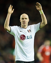 LIVERPOOL, ENGLAND - Saturday, November 22, 2008: Fulham's Andrew Johnson applauds the supporters, after a 0-0 draw against Liverpool in Premiership match at Anfield. (Photo by David Rawcliffe/Propaganda)