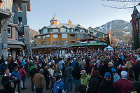 A band from Sardis, BC, plays to a cheering crowd during the 2010 Olympic Winter Games in Whistler, BC Canada.