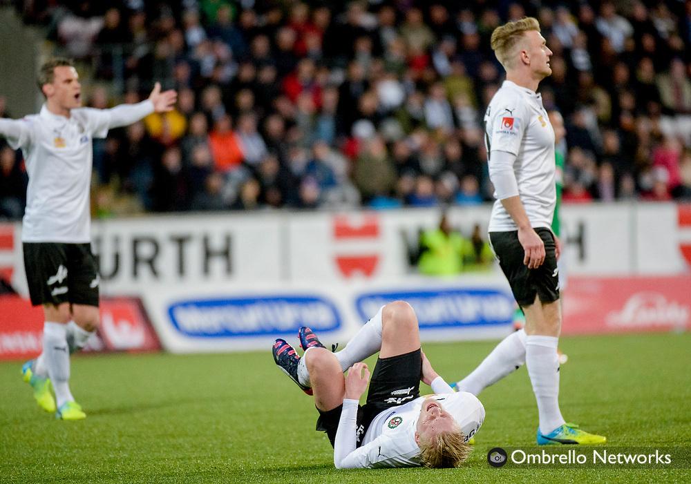 ÖREBRO, SWEDEN - APRIL 11: Kalle Holmberg of Örebro SK is in pain during the allsvenskan match between Örebro SK & Jonkoping Sodra at Behrn Arena on April 11, 2016 in Örebro, Sweden. Foto: Pavel Koubek/Ombrello