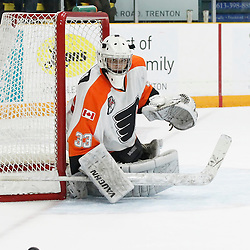 TRENTON, ON - SEP 16:  Nathan Torchia #33 of the Orangeville Flyers follows the play during the OJHL regular season game between the  Orangeville Flyers and Trenton Golden Hawks on September 16, 2016 in Trenton, Ontario. (Photo by Amy Deroche/OJHL Images)