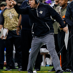 Nov 5, 2017; New Orleans, LA, USA; New Orleans Saints head coach Sean Payton argues with officials during the second half of a game against the Tampa Bay Buccaneers at the Mercedes-Benz Superdome. The Saints defeated the Buccaneers 30-10. Mandatory Credit: Derick E. Hingle-USA TODAY Sports