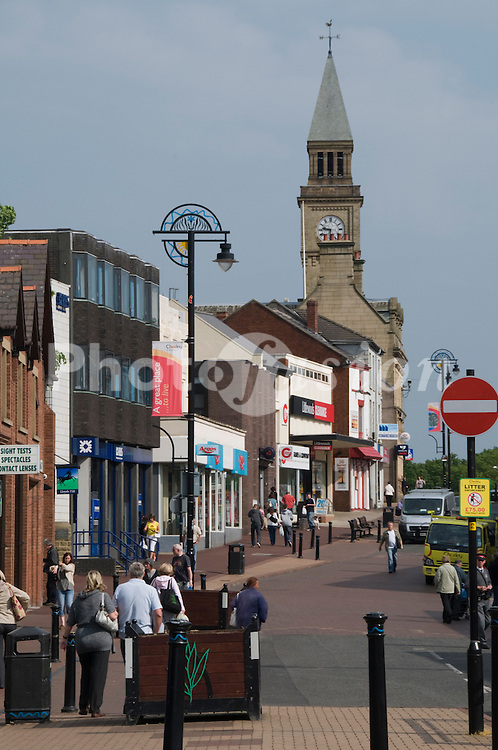 Chorley town centre with town hall in background; Lancashire UK
