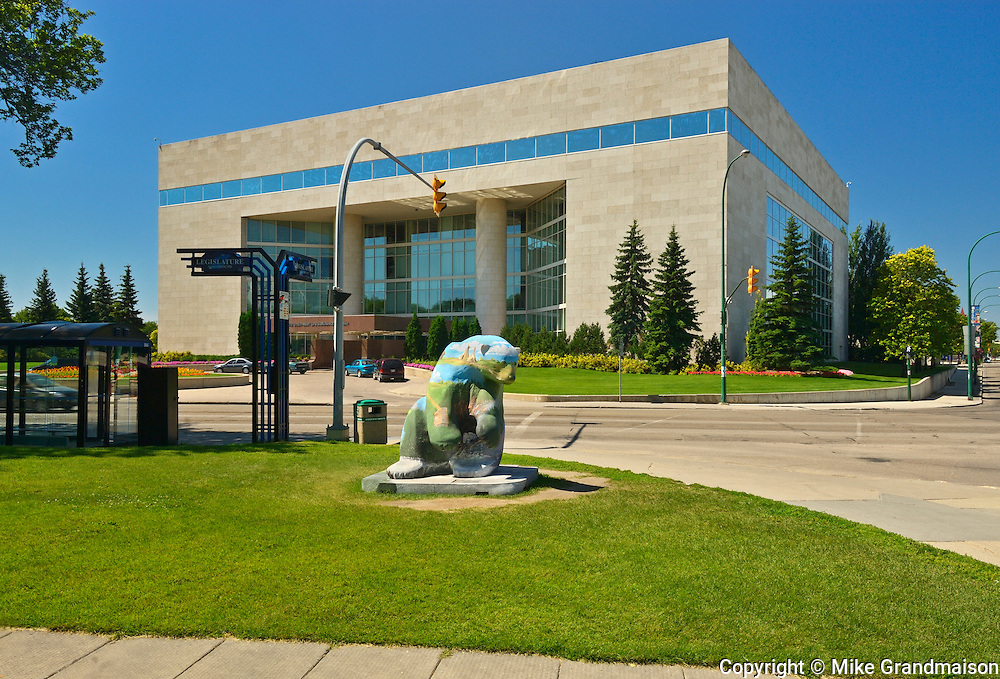 'Bears on Broadway' art project in front of the Great West Assurance Head Office<br /> Winnipeg<br /> Manitoba<br /> Canada