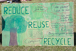 "Sign advising on how to reduce; reuse and recycle at Nottingham University Student Union ""Sounds on the Downs"" Green Fields Festival; part of Green Week 2008,"