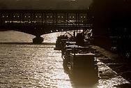 France. Paris. Bir hakeim bridge on the Seine river at sunset / Paris le pont de Bir Hakeim sur la Seine
