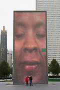 Chicago Illinois USA, Crown Fountain in Millennium Park video display. October 2006