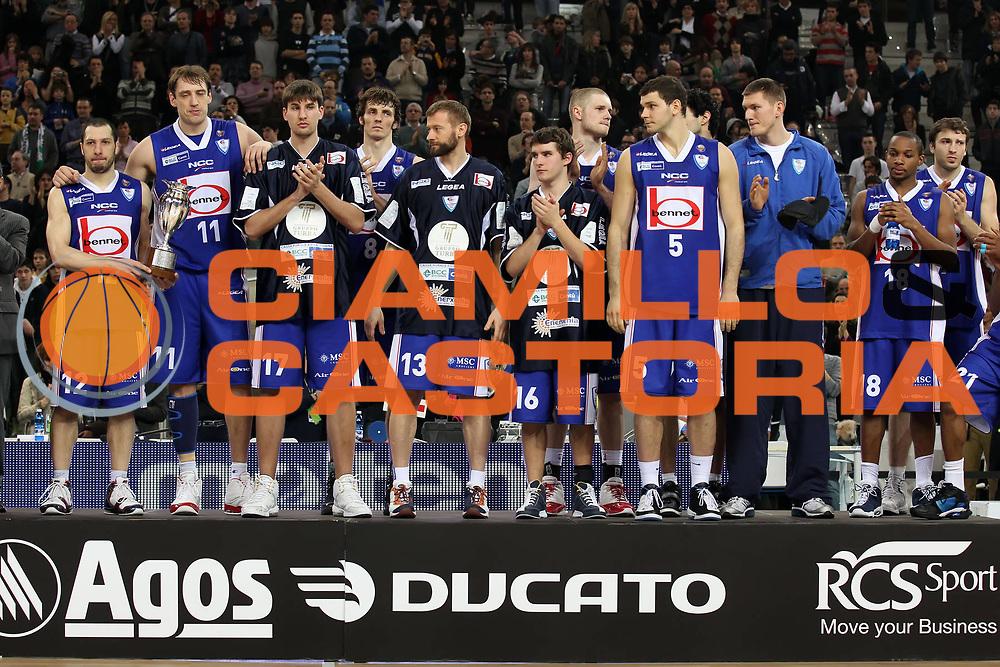 DESCRIZIONE : Torino Coppa Italia Final Eight 2011 Finale Montepaschi Siena Bennet Cantu<br /> GIOCATORE : The team<br /> SQUADRA : Bennet Cantu<br /> EVENTO : Agos Ducato Basket Coppa Italia Final Eight 2011<br /> GARA : Montepaschi Siena Bennet Cantu<br /> DATA : 13/02/2011<br /> CATEGORIA : team award premiazione<br /> SPORT : Pallacanestro<br /> AUTORE : Agenzia Ciamillo-Castoria/ElioCastoria<br /> Galleria : Final Eight Coppa Italia 2011<br /> Fotonotizia : Torino Coppa Italia Final Eight 2011 Finale Montepaschi Siena Bennet Cantu<br /> Predefinita :
