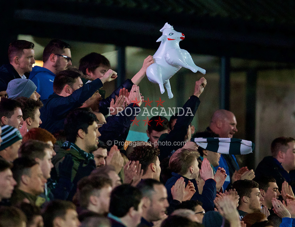 NEWPORT, WALES - Wednesday, December 21, 2016: Plymouth Argyle supporters with an inflatable sheep during the FA Cup 2nd Round Replay match against Newport County at Rodney Parade. (Pic by David Rawcliffe/Propaganda)