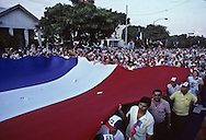 El Salvador. Meeting of the Arena party, extrem right, The  leader Roberto d Aubuisson and his wife      / Meeting du parti ARENA de Roberto d Aubuisson, extreme droite.    Salvador