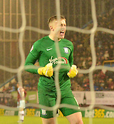 2-0 up and Preston North End Goalkeeper, Jordan Pickford is very happy during the Sky Bet Championship match between Burnley and Preston North End at Turf Moor, Burnley, England on 5 December 2015. Photo by Mark Pollitt.