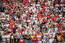 July 7, 2018 - Samara, RUSSIA - 180707 A Swedish fan is seen among England fans during the FIFA World Cup quarter final match between Sweden and England on July 7, 2018 in Samara..Photo: Joel Marklund / BILDBYRÃ…N / kod JM / 87755 (Credit Image: © Joel Marklund/Bildbyran via ZUMA Press)