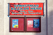 Christmas Bazaar event notice on church hall at Walton, Felixstowe, Suffolk, England