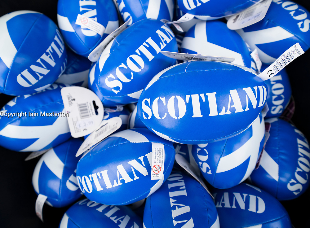 Small rugby balls with Scotland logo for sale in shop on Edinburghs Royal Mile