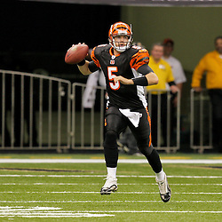 2009 August 14: Cincinnati Bengals quarterback Jordan Palmer (5) looks to pass during 17-7 win by the New Orleans Saints over the Cincinnati Bengals in their preseason opener at the Louisiana Superdome in New Orleans, Louisiana.