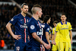 Zlatan Ibrahimovic of Paris Saint-Germain looks on - Photo mandatory by-line: Rogan Thomson/JMP - 07966 386802 - 17/02/2015 - SPORT - FOOTBALL - Paris, France - Parc des Princes - Paris Saint-Germain v Chelsea - UEFA Champions League, Last 16, First Leg.