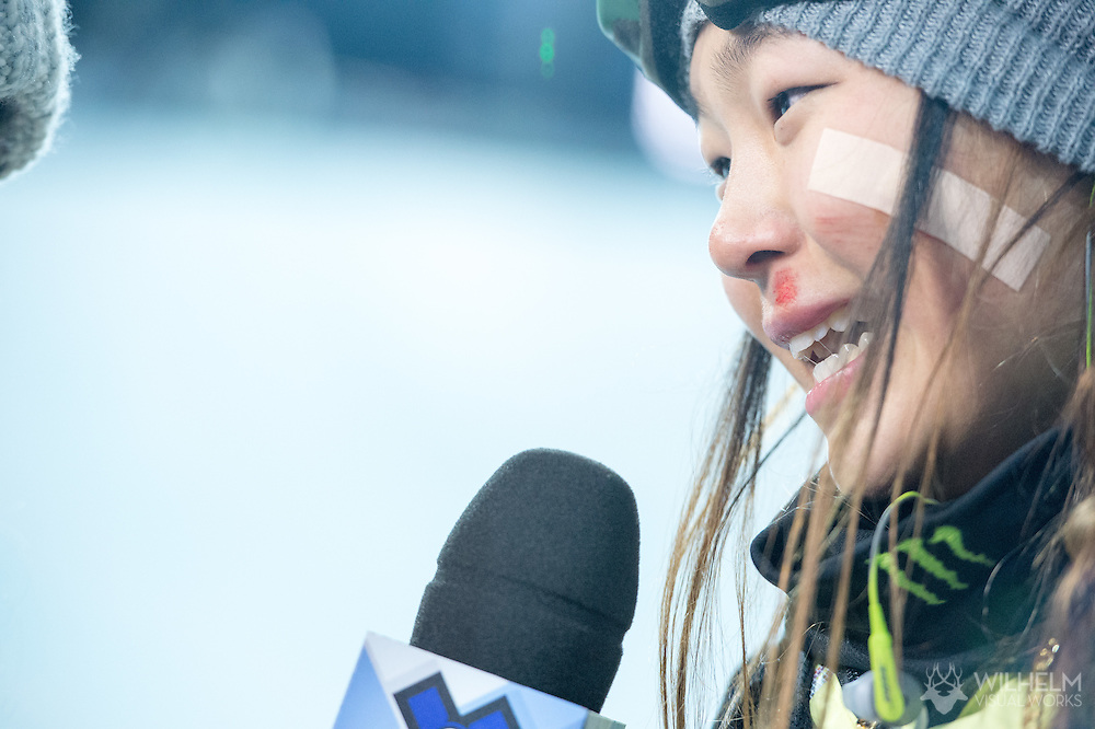 Chloe Kim during Women's Snowboard Superpipe Finals during 2015 X Games Aspen at Buttermilk Mountain in Aspen, CO. ©Brett Wilhelm/ESPN