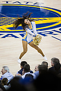 The Golden State Warriors Dance Squad performs during a time out in gameplay against the Houston Rockets at Oracle Arena in Oakland, Calif., on October 17, 2017. (Stan Olszewski/Special to S.F. Examiner)