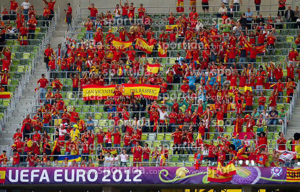 Fans of Spain prior  to the UEFA EURO 2012 group C match between Spain and Italy at The Arena Gdansk on June 10, 2012 in Gdansk, Poland.  (Photo by Vid Ponikvar / Sportida.com)