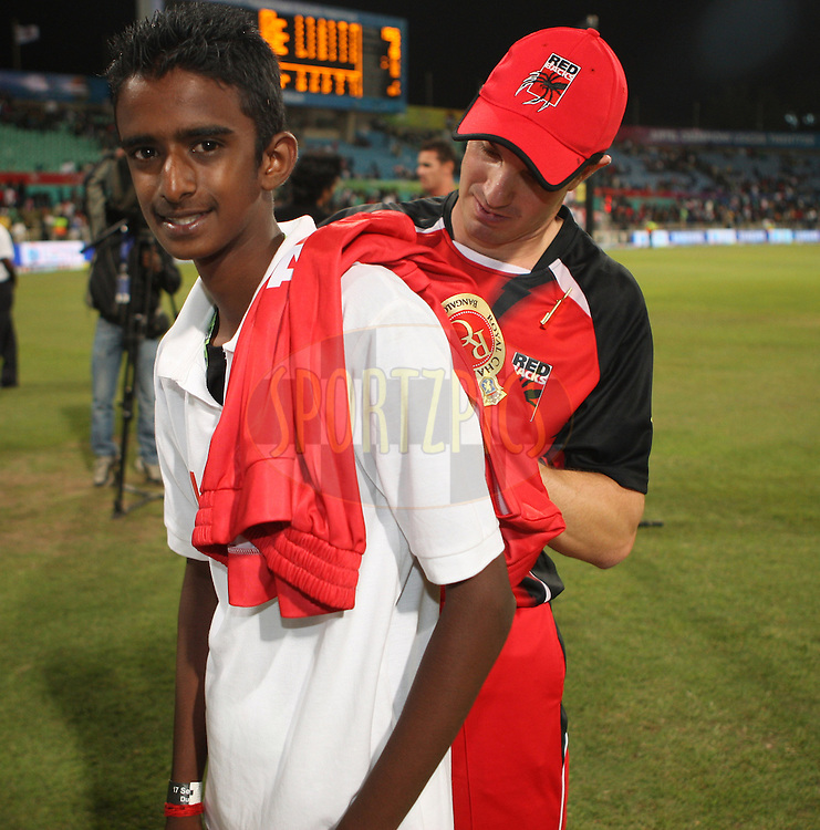 Michael Klinger T- shirt signing during match 11 of the Airtel CLT20 between The South Australian Redbacks and The Royal Challengers Bangalore held at Kingsmead Stadium in Durban on the 17 September 2010..Photo by: Steve Haag/SPORTZPICS/CLT20.
