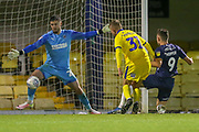 GOAL 3-1 Southend United forward Tom Hopper (9) scores during the EFL Trophy match between Southend United and AFC Wimbledon at Roots Hall, Southend, England on 13 November 2019.