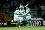 Yeovil Town's Jack Compton celebrates after scoring Yeovil's opening goal during the The FA Cup Third Round Replay match between Yeovil Town and Carlisle United at Huish Park, Yeovil, England on 19 January 2016. Photo by Graham Hunt.