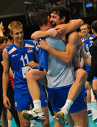 18.09.2011, Stadthalle, Wien, AUT, CEV, Europaeische Volleyball Meisterschaft 2011, Finale, Italien vs Serbien, im Bild Jubel vl. Mihajlo Mitic, (SRB, #11, Setter), Nikola Rosic, (SRB, #19, Libero 1) und Milos Nikic, (SRB, #10, Wing-Spiker) // during the european Volleyball Championship Final Italy vs Serbia, at Stadthalle, Vienna, 2011-09-18, EXPA Pictures © 2011, PhotoCredit: EXPA/ M. Gruber