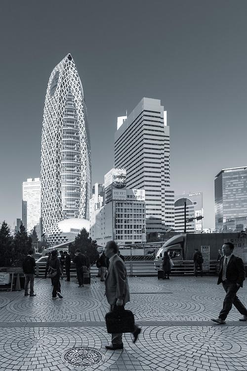 Tokyo, modern architecture cityscape in the skyscraper financial Nishi-Shinjuku district, Japan.