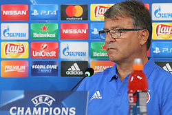 September 26, 2017 - Turin, Piedmont, Italy - Takis Lemonis, head coach of Olympiacos FC, speaks during the Olympiakos FC press conference on the eve of  the UEFA Champions League (Group D) match between Juventus FC and Olympiakos FC  at Allianz Stadium on 26 September, 2017 in Turin, Italy. (Credit Image: © Massimiliano Ferraro/NurPhoto via ZUMA Press)