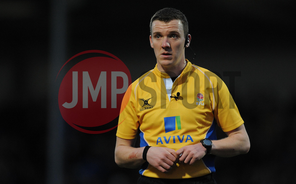 Match Referee Tom Foley - Photo mandatory by-line: Harry Trump/JMP - Mobile: 07966 386802 - 14/02/15 - SPORT - Rugby - Aviva Premiership - Sandy Park, Exeter, England - Exeter Chiefs v Newcastle Falcons