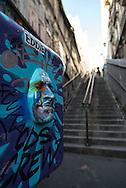 France. Paris 18th;  Montmartre stairs, Rue drevet