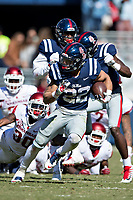 OXFORD, MS - OCTOBER 28:  Jordan Wilkins #22 of the Ole Miss Rebels runs the ball during a game against the Arkansas Razorbacks at Hemingway Stadium on October 28, 2017 in Oxford, Mississippi.  The Razorbacks defeated the Rebels 38-37.  (Photo by Wesley Hitt/Getty Images) *** Local Caption *** Jordan Wilkins