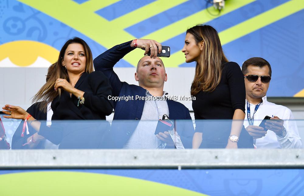 2016.06.25 Saint-Etienne<br /> Pilka nozna Euro 2016<br /> mecz 1/8 finalu Szwajcaria - Polska<br /> N/z Anna Lewandowska Mariusz Lewandowski Sara Boruc<br /> Foto Lukasz Laskowski / PressFocus<br /> <br /> 2016.06.25<br /> Football UEFA Euro 2016 <br /> Round of 16 game between Switzerland and Poland<br /> Anna Lewandowska Mariusz Lewandowski Sara Boruc<br /> Credit: Lukasz Laskowski / PressFocus