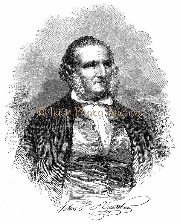 John James Audobon (1785-1851) American ornithologist and artist. Audubon in later life. Wood engraving, London, 1852