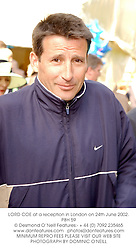 LORD COE at a reception in London on 24th June 2002.	PBH 59