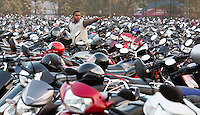 BHUBANESWAR (India) -  Hero Champions Trophy hockey men. Semifinal India vs Pakistan. Public.  parking place for motorbikes. Photo Koen Suyk