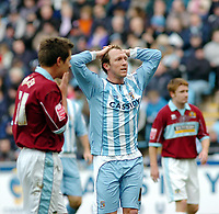 Photo: Kevin Poolman.<br />Coventry City v Burnley. Coca Cola Championship. 25/02/2006. <br />A good chance missed by Coventry's Andy Morrell.