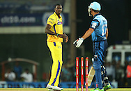 Jason Holder of Chennai Super Kings reacts after a delivery  during match 3 of the Karbonn Smart Champions League T20 (CLT20) 2013  between The Chennai Superkings and the Titans held at the JSCA International Cricket Stadium, Ranchi on the 22nd September 2013<br /> <br /> Photo by Ron Gaunt-CLT20-SPORTZPICS  <br /> <br /> Use of this image is subject to the terms and conditions as outlined by the CLT20. These terms can be found by following this link:<br /> <br /> http://sportzpics.photoshelter.com/image/I0000NmDchxxGVv4