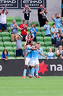 MELBOURNE, VIC - MARCH 03: Melbourne City forward Jamie Maclaren (29) celebrates with teammates as he scores the penalty at the round 21 Hyundai A-League soccer match between Melbourne City FC and Perth Glory on March 03, 2019 at AAMI Park, VIC. (Photo by Speed Media/Icon Sportswire)